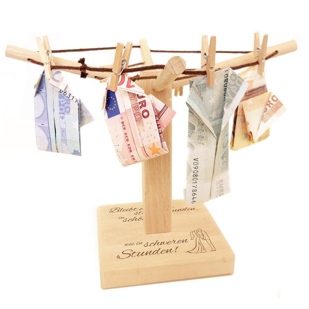 Geldwäschespinne mit Gravur - Hochzeit - Spruch
