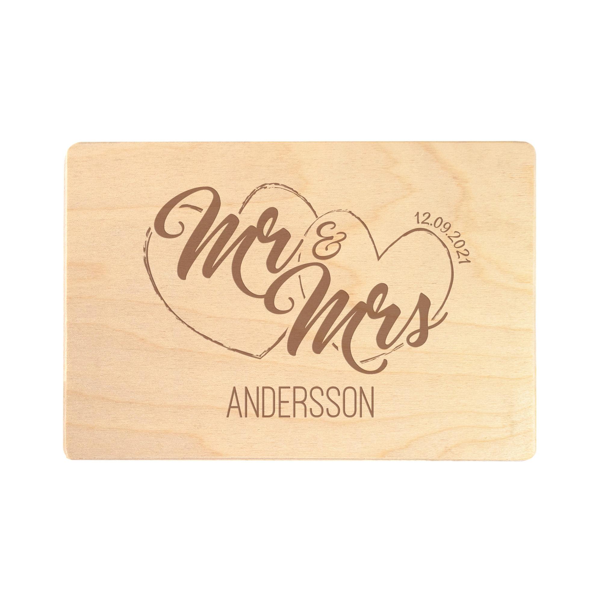 Erinnerungsbox mit Gravur - Mr & Mrs - Geschenkbox Hochzeit