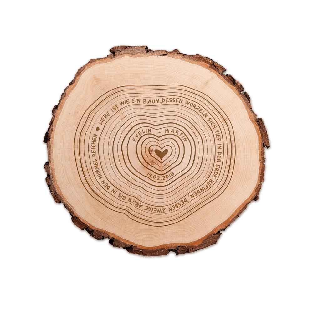 Baumscheibe mit Gravur - Jahresringe - personalisiert