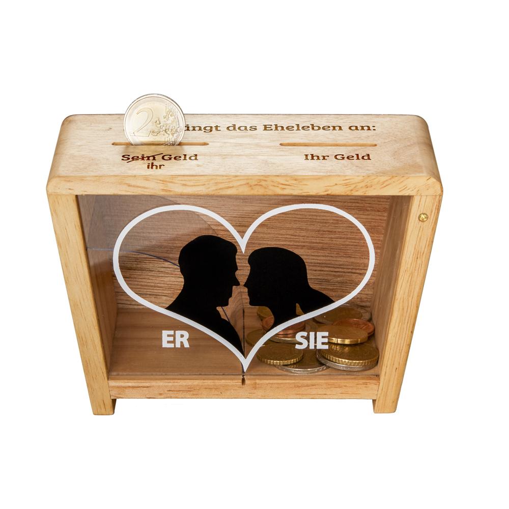 Spardose - mit Aufdruck - Eheleben - Er & Sie