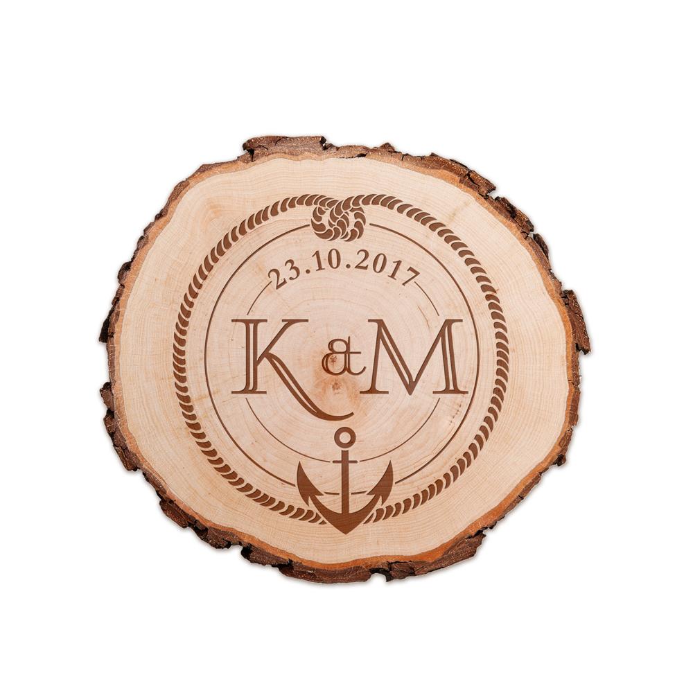 Baumscheibe mit Gravur - Anker und Knoten - personalisiert
