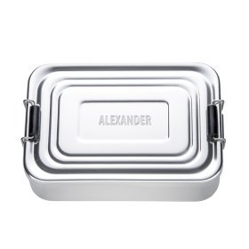 Brotdose Eckig Silber - Name - Personalisiert