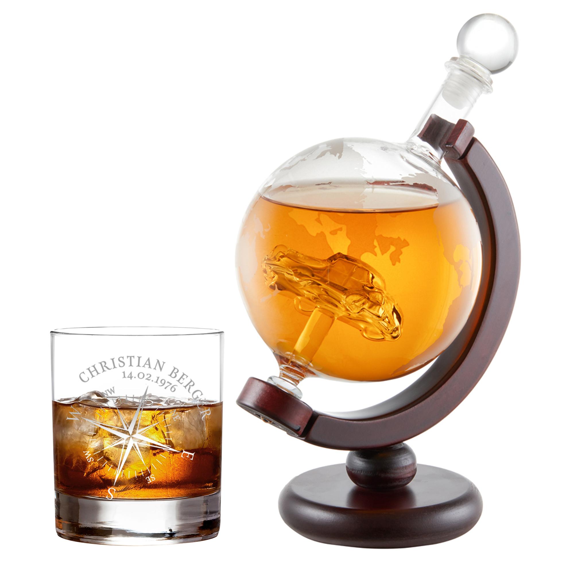 Whiskyset Globus Karaffe und gravierter Tumbler