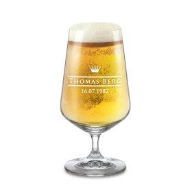Pilsglas mit Kronen-Gravur - Personalisiert