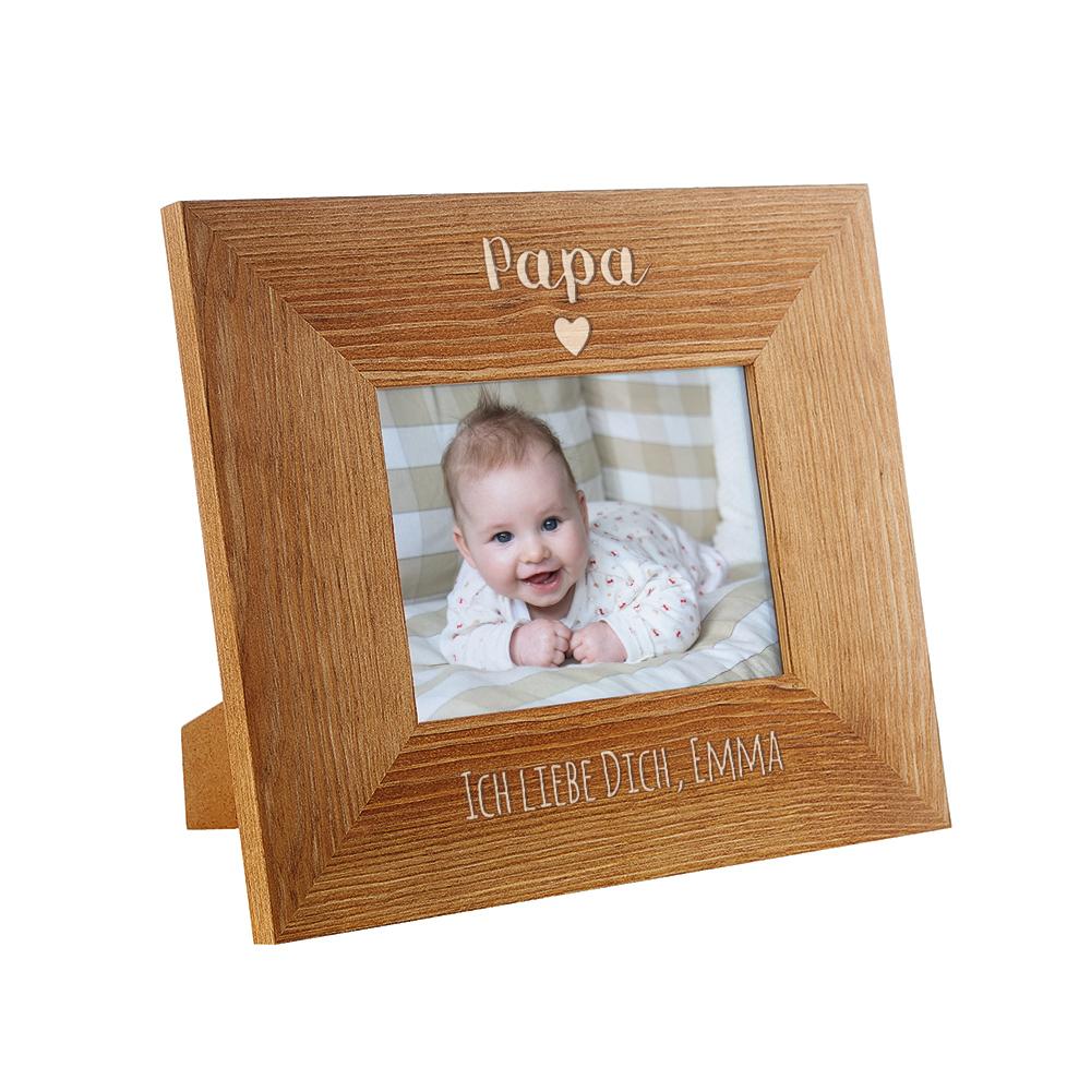 Gravierter Bilderrahmen aus Holz für Papa