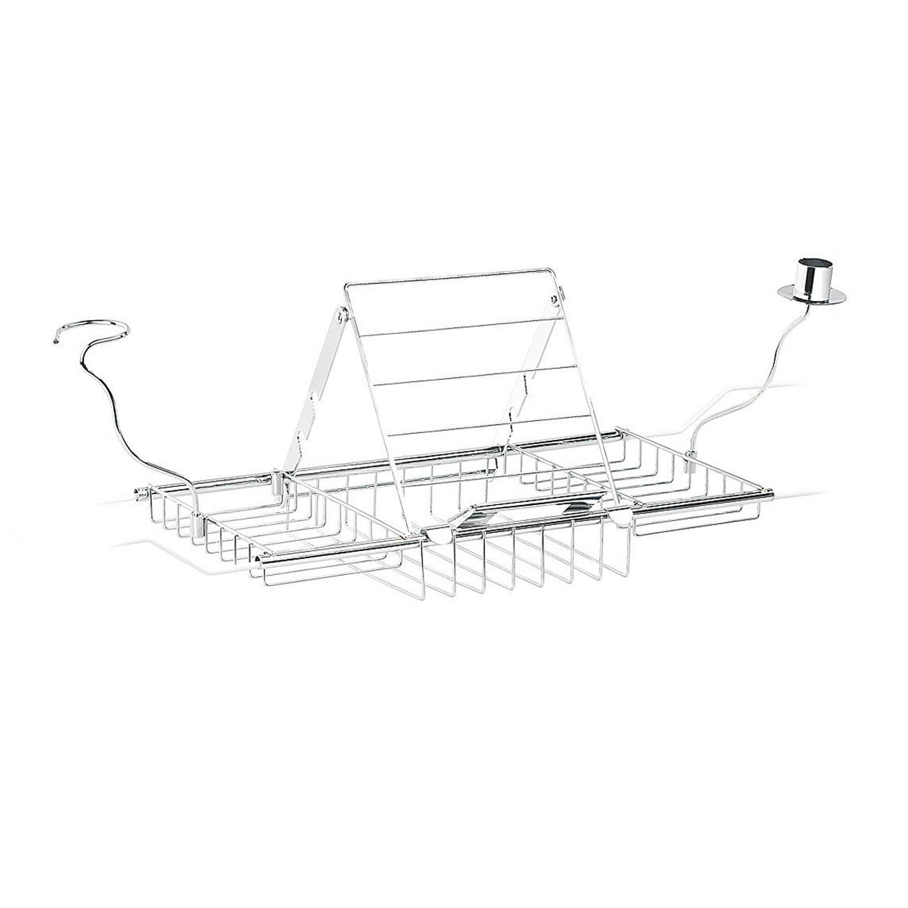 Badewannenablage - 3in1 Buchhalter, Kerzenständer & Weinglashalter