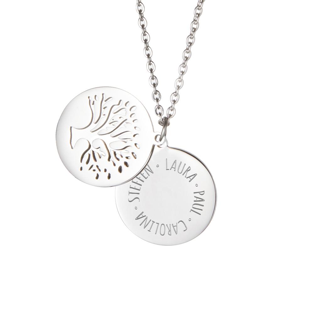 Kette mit Anhänger Lebensbaum - Kreis aus Namen - Silber