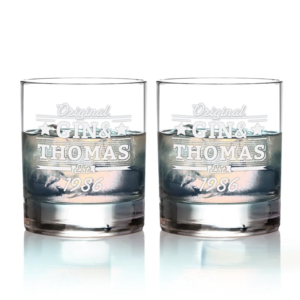 2er Set Ginglas Tumbler - Gin & Geburtstag - Personalisiert