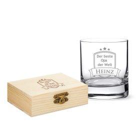 Set - Whiskyglas und Whiskysteine - Bester Opa - Wappen - Personalisiert