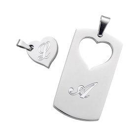 Kette mit Initialen - Partnerschmuck - Farbe Silber