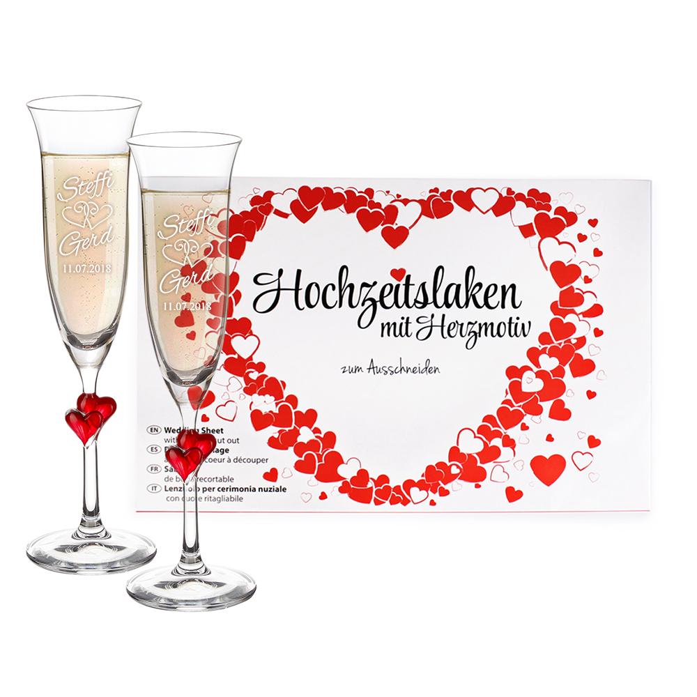 Hochzeitsset - 2 Sektgläser mit Hochzeitsgravur mit roten Herzen und Hochzeitslaken