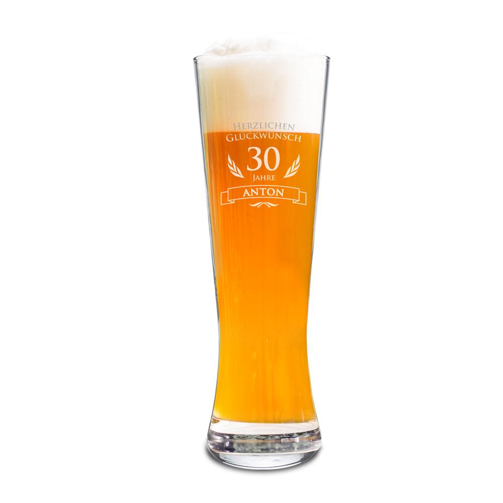 Weizenglas mit Gravur - Zum Geburtstag - Personalisiert