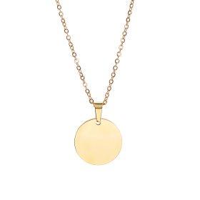 Kette mit Kreisanhänger - Edelstahl - Farbe Gold