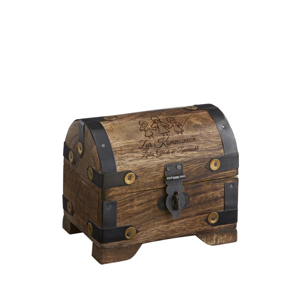 Kleine Schatztruhe aus Holz zur Kommunion - dunkel