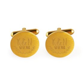 Manschettenknöpfe Gold zur Hochzeit - Ranken - personalisiert