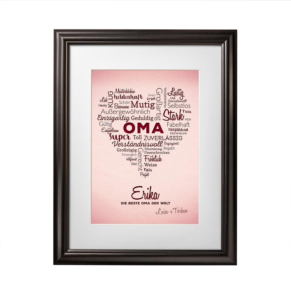 Bild mit Rahmen - Herz aus Worten für Oma