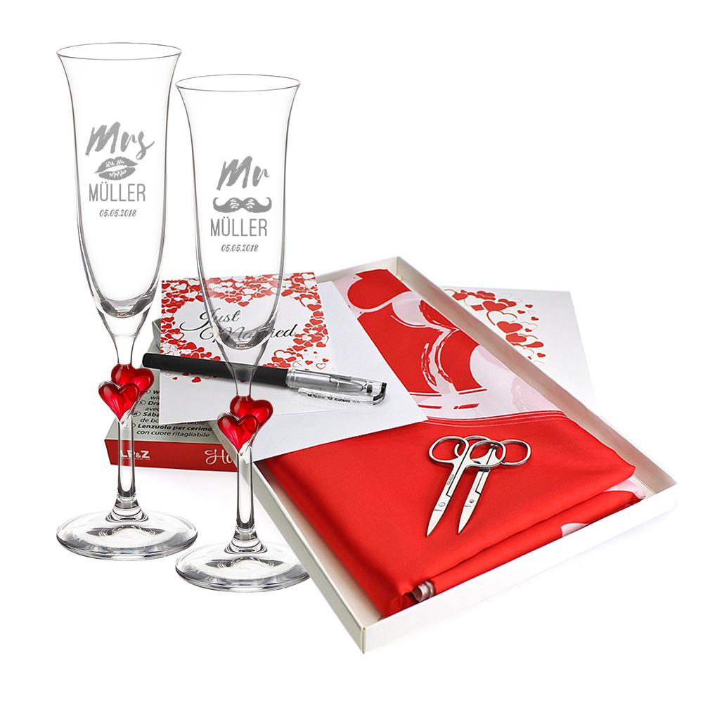 Hochzeitsset - 2 gravierte Sektgläser mit roten Herzen - Mr & Mrs - Hochzeitslaken