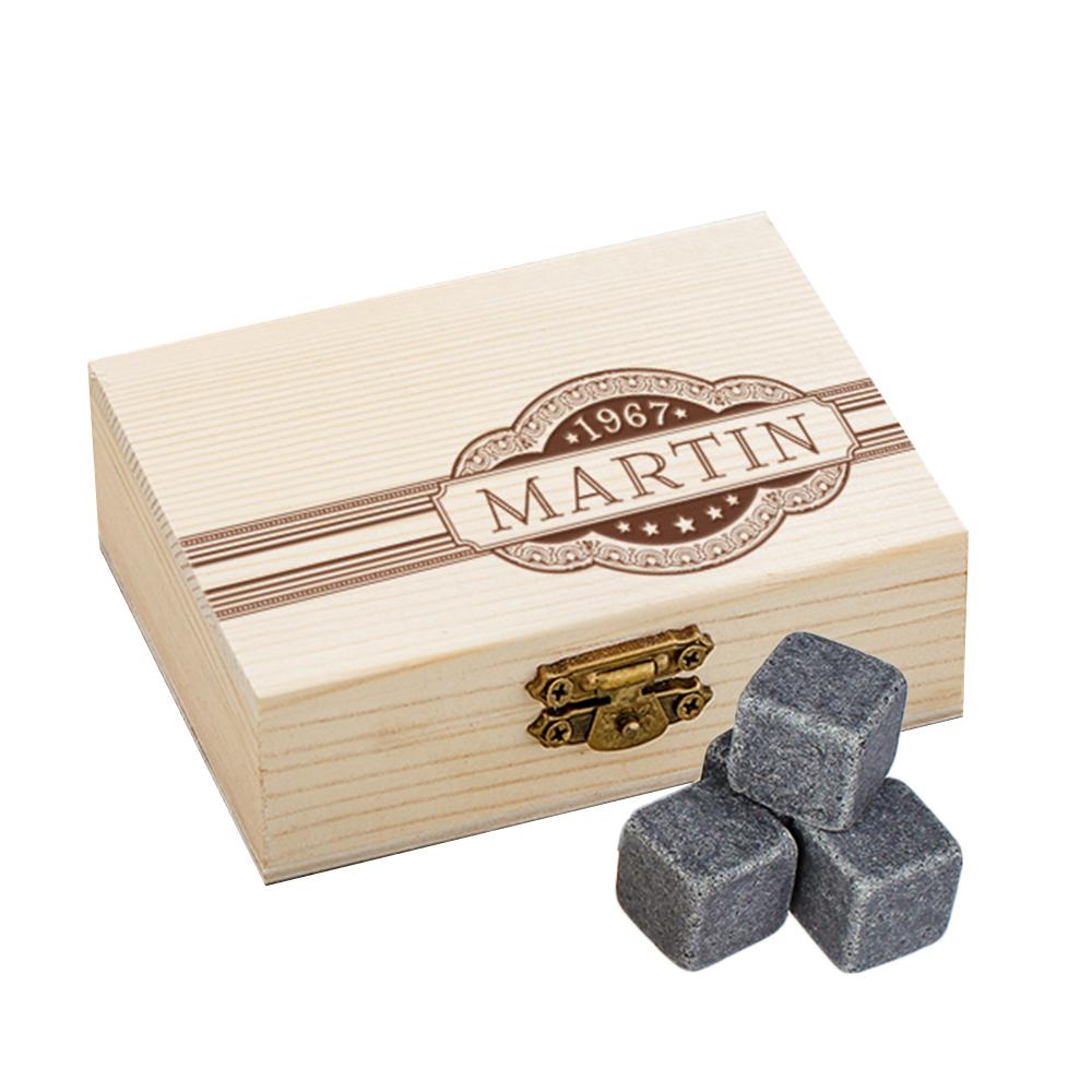 Whiskysteine in Holzbox mit Gravur - Banderole - personalisiert