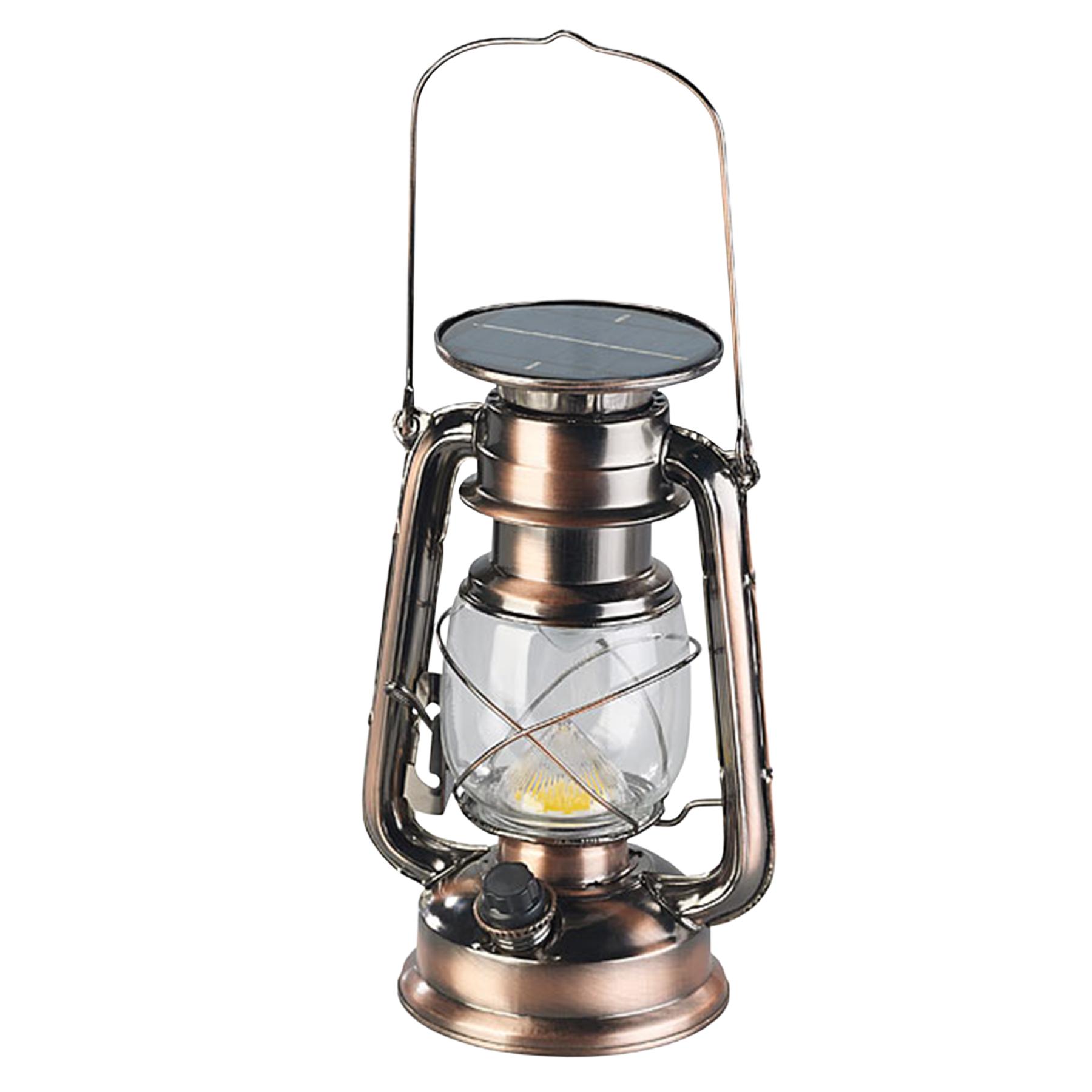 Solarbetriebene LED Leuchte im Sturmlampen-Design