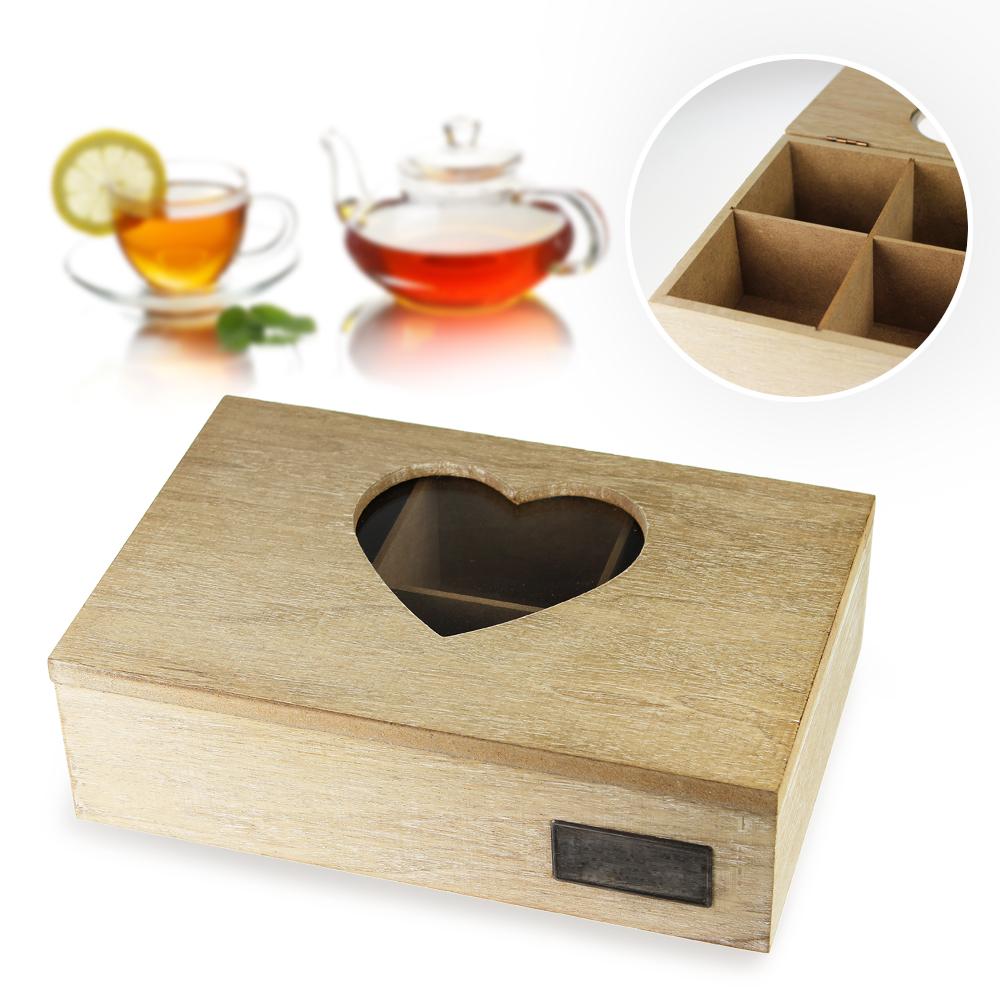 Holz Teebox mit Herz