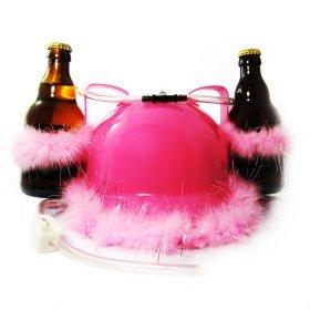 Pinker Bierhelm mit Glitzer