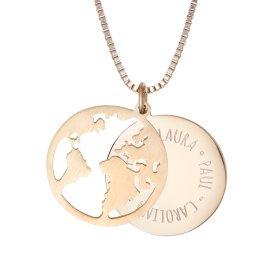 Kette mit Anhänger Welt - Namen - Gold