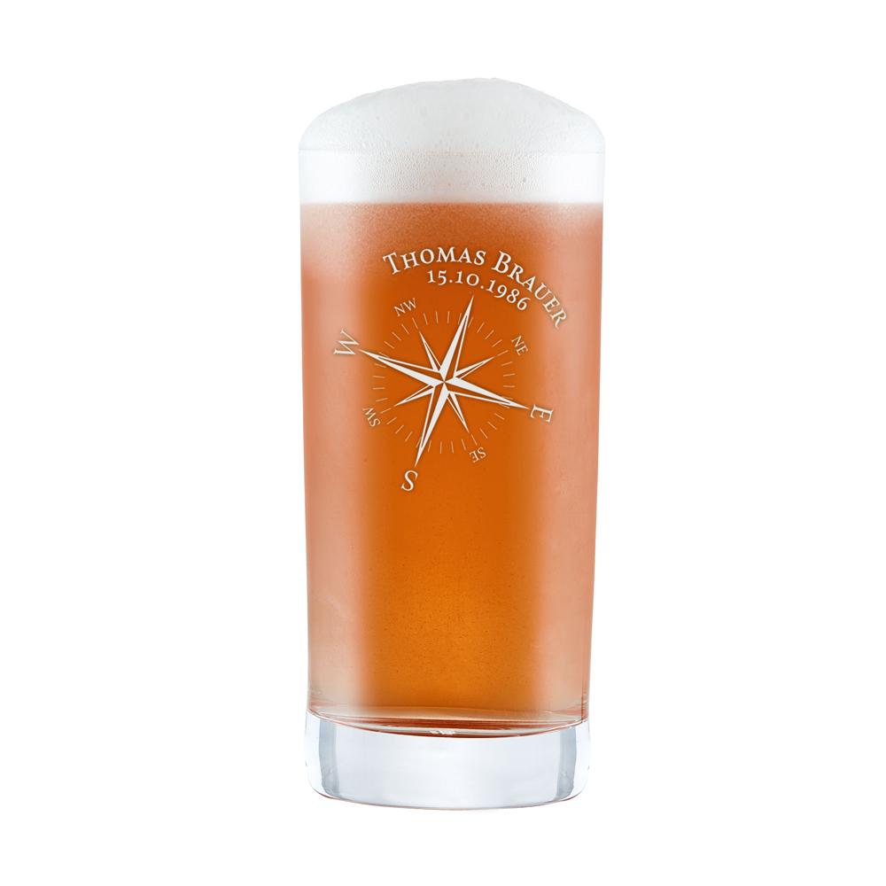 Craft Bier Glas mit Gravur - Kompass
