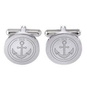 Runde Manschettenknöpfe Silber - Anker - personalisiert