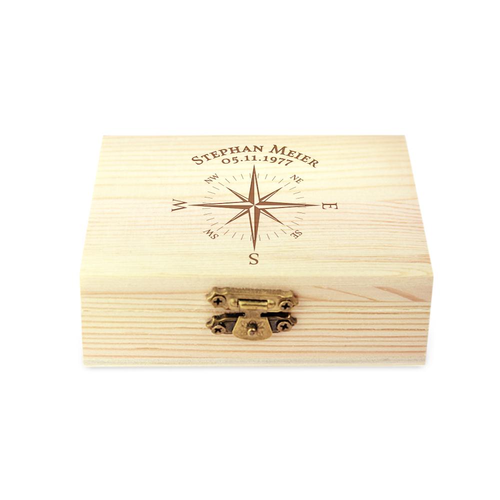 Whiskysteine in Holzbox mit Gravur - Kompass - personalisiert