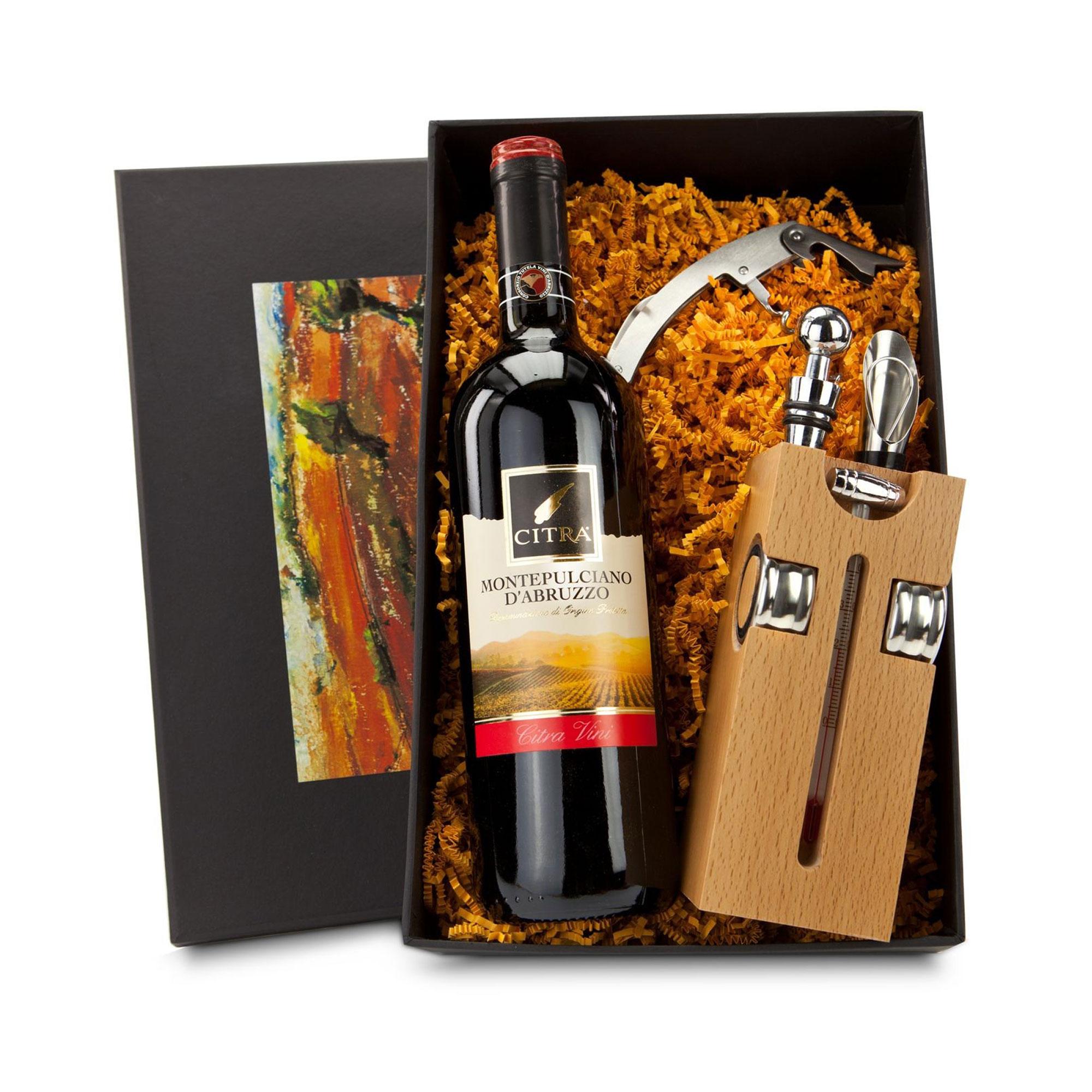 Geschenkset mit Sommelier Accessoires und Weinflasche