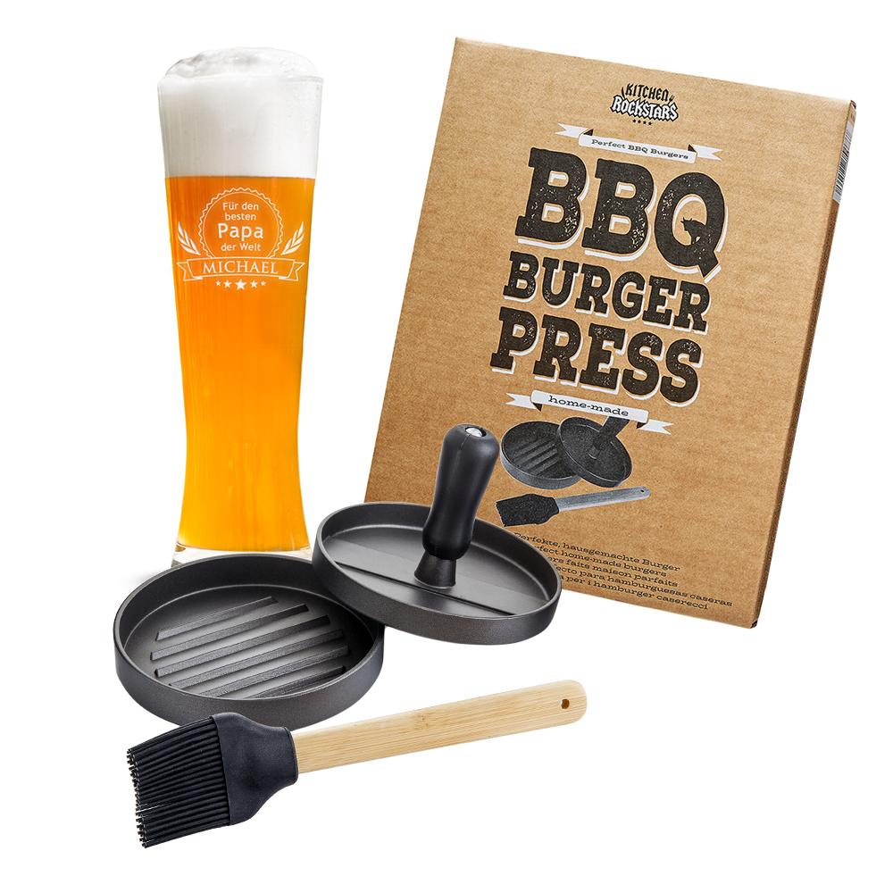 Grillset für Papa - Burgerpresse und Weizenglas mit Gravur