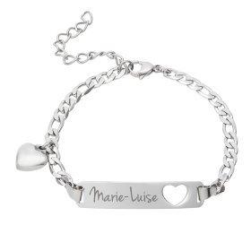 Armband mit Gravur - Name - Herz - Silber