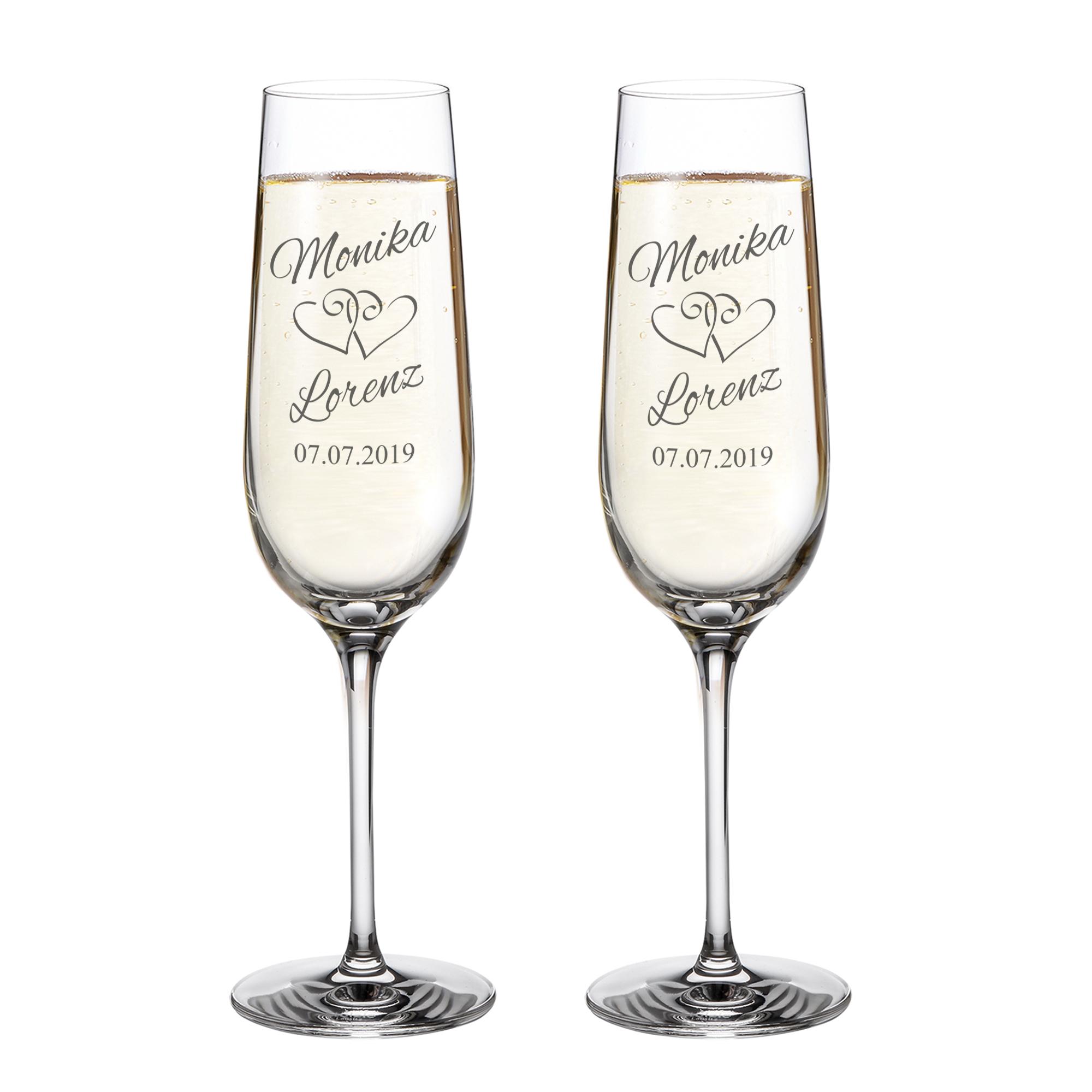2er Set Sektgläser zur Hochzeit mit Gravur - personalisiert