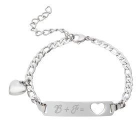 Armband mit Gravur - Herz - Initialen - Silber