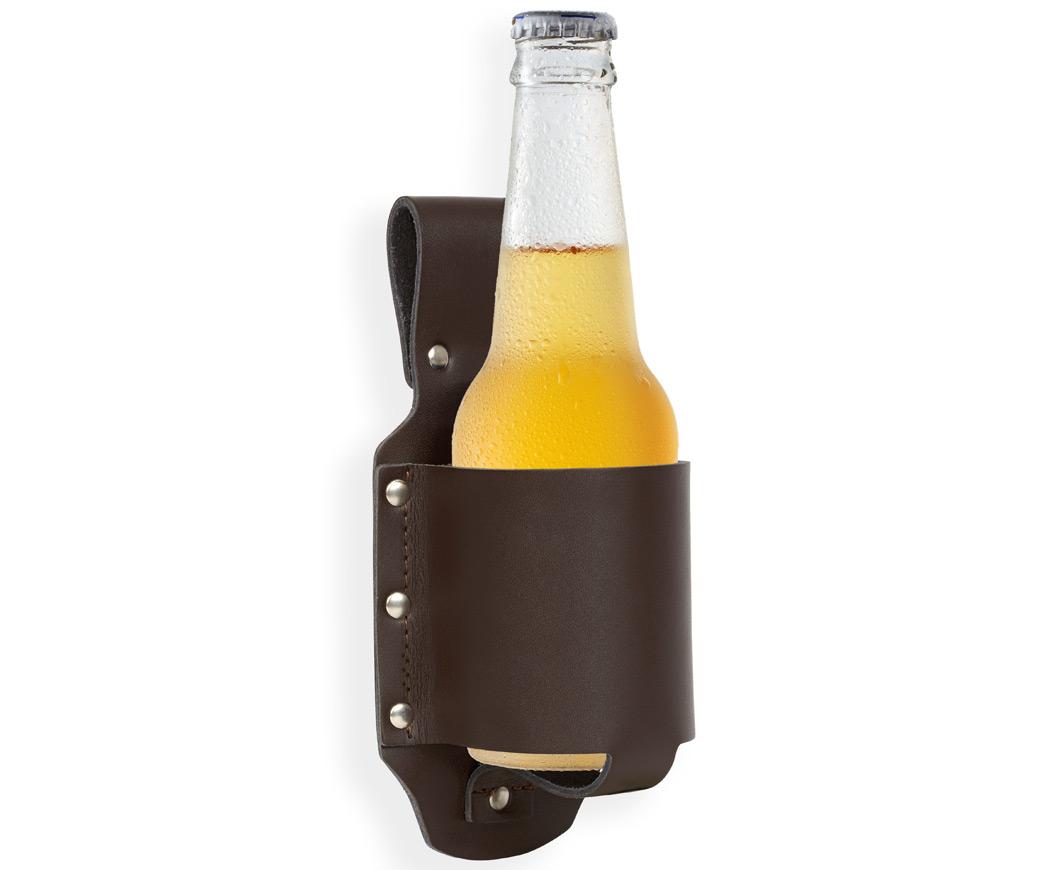 Kultiger Bierholster aus echtem Leder
