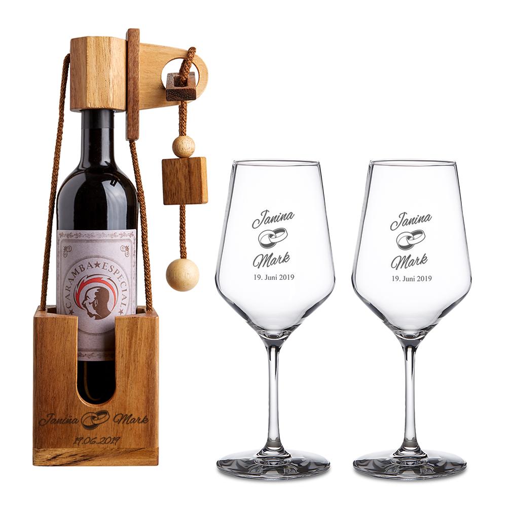 Set zur Hochzeit - 2 Weißweingläser und Flaschenpuzzle Dunkel - Personalisiert