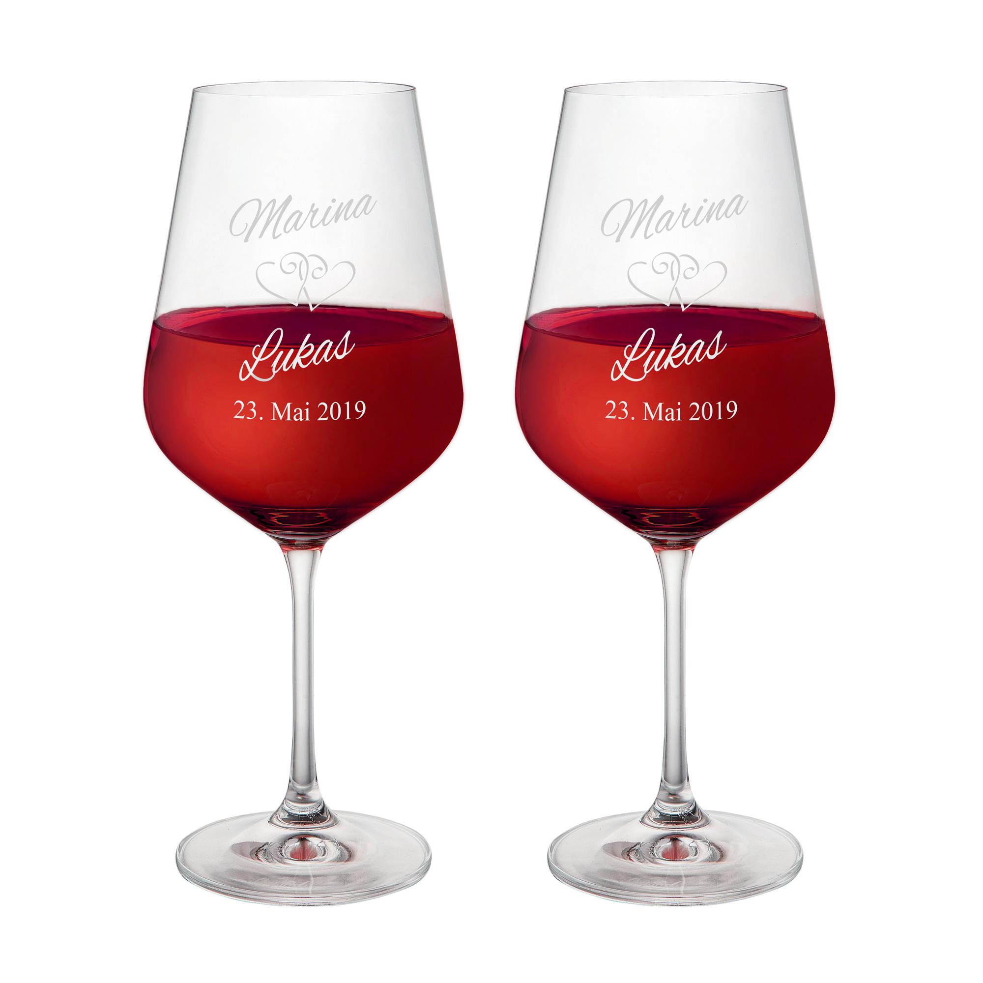 2er Set Weingläser mit Gravur zur Hochzeit - personalisiert