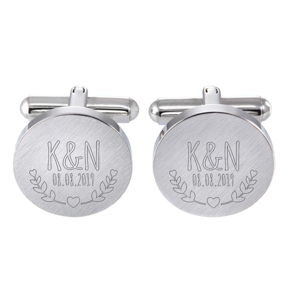Manschettenknöpfe Silber zur Hochzeit - Blätter - personalisiert