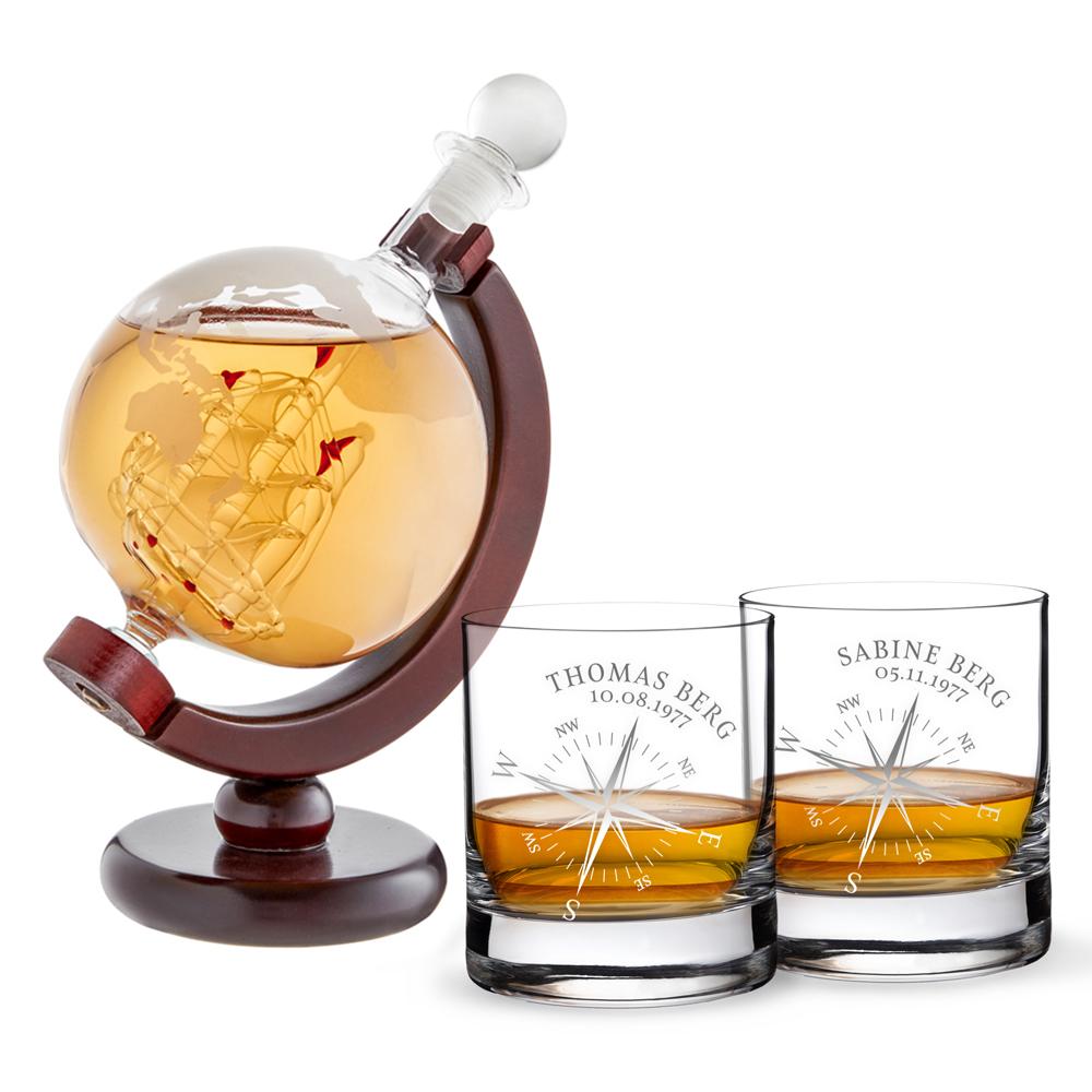 Set - Whiskykaraffe Globus - Zwei Whiskygläser mit Gravur - Kompass - personalisiert