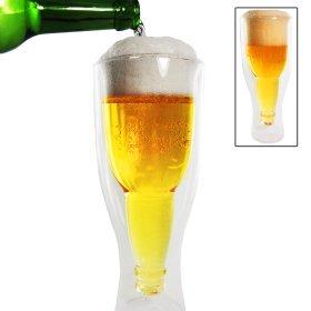2er Set: Umgedrehte Bierflasche im Glas
