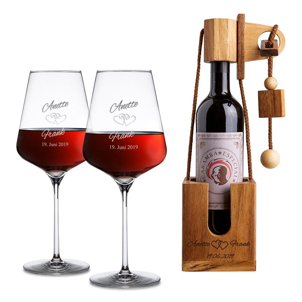 Hochzeitsset - 2 Rotweingläser und Flaschenpuzzle mit Hochzeitsgravur
