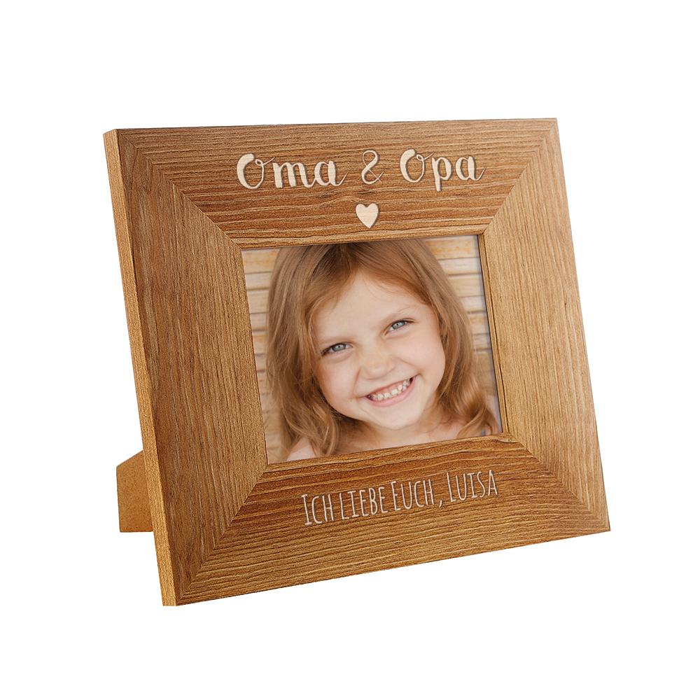 Gravierter Bilderrahmen aus Holz für Oma und Opa