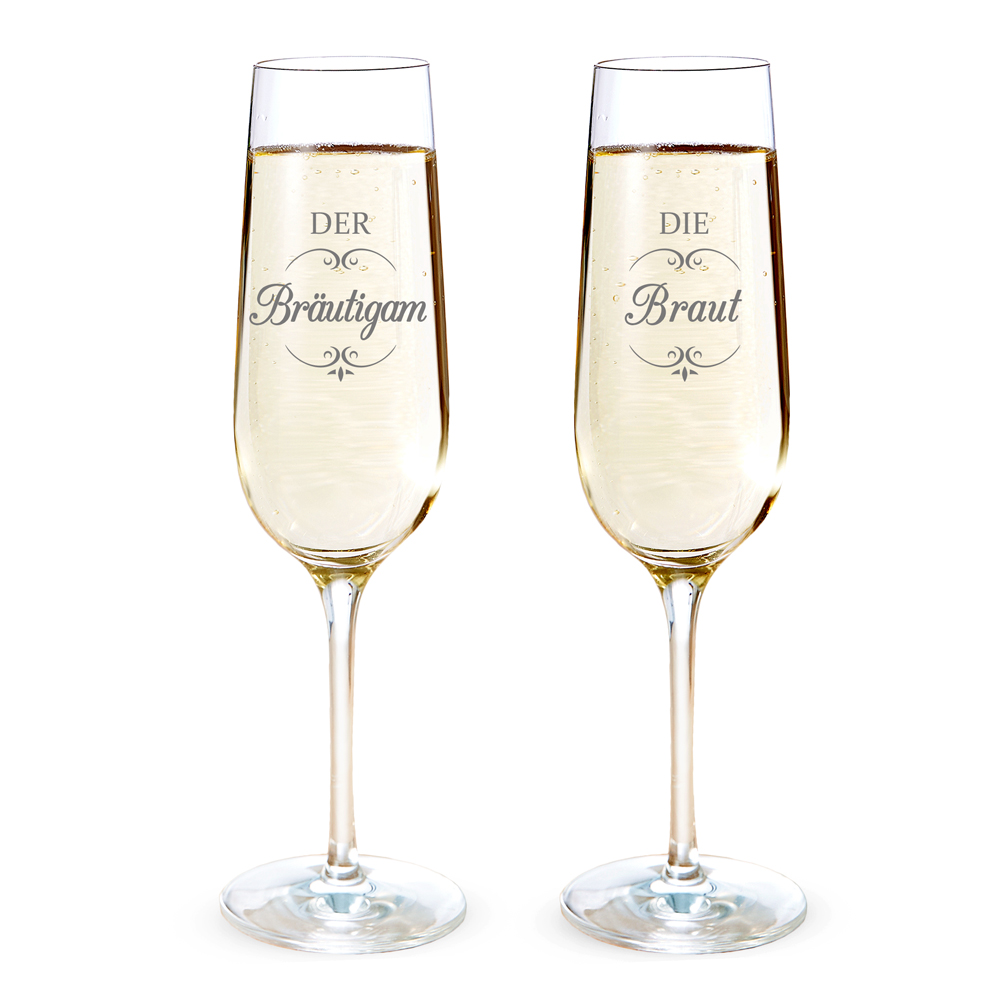 2er Set Sektgläser - Braut und Bräutigam - Zur Hochzeit