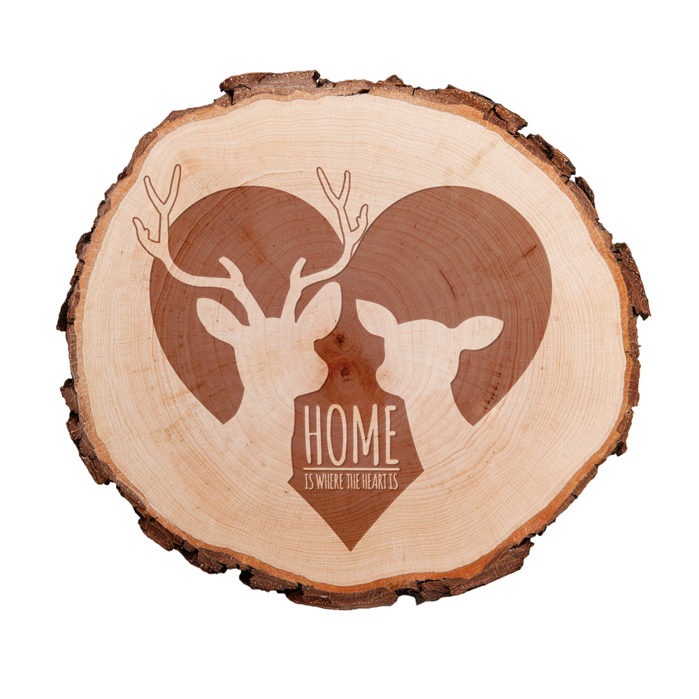 Baumscheibe mit Gravur - Home is where the heart is