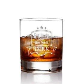 Whiskyglas mit Gravur für Opa - Wappen - personalisiert