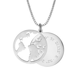 Kette mit Anhänger Welt - Geokoordinaten - Silber