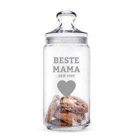 Keksglas mit Gravur für die Beste Mama - personalisiert
