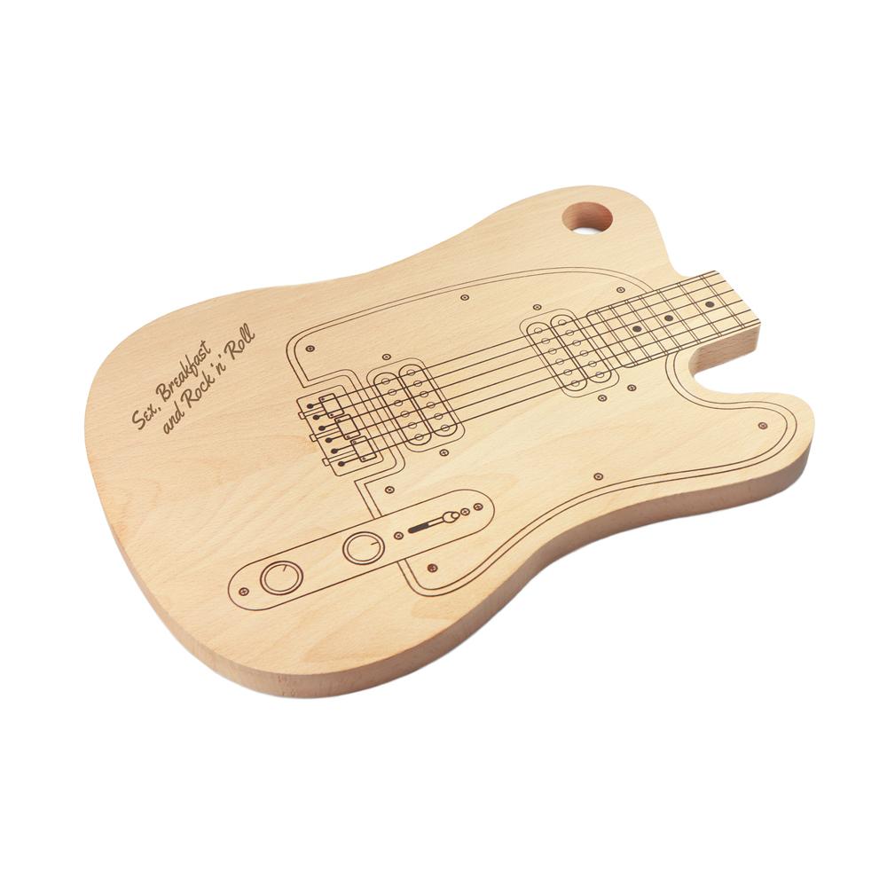 Schneidebrett Gitarre aus Holz - Sex, Breakfast and Rock'n'Roll