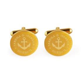 Manschettenknöpfe Gold zur Hochzeit - Anker - personalisiert