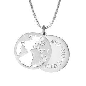 Kette mit Anhänger Welt - Namen - Silber